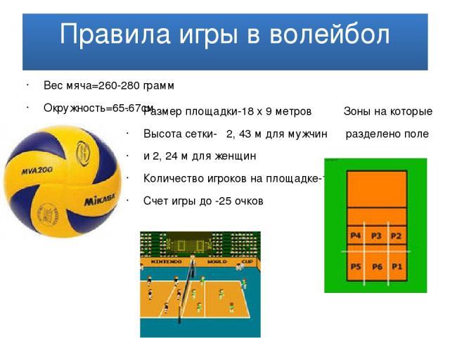 Правила игры в волейбол Вес мяча=260-280 грамм Окружность=65-67см Размер площадки-18 x 9 метров Зоны на которые Высота сетки- 2, 43 м для мужчин разделено поле и 2, 24 м для женщин Количество игроков на площадке-12 Счет игры до -25 очков