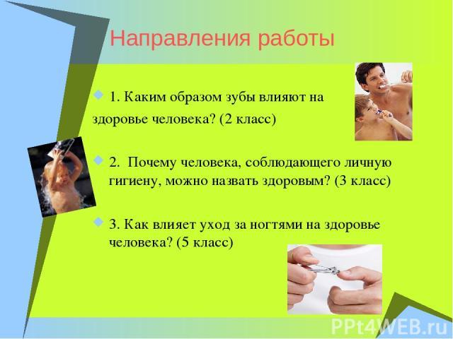 Направления работы 1. Каким образом зубы влияют на здоровье человека? (2 класс) 2. Почему человека, соблюдающего личную гигиену, можно назвать здоровым? (3 класс) 3. Как влияет уход за ногтями на здоровье человека? (5 класс)
