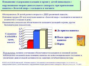 Ю.Н.Гутов, В.М.Позняковский «Влияние напитка, обогащенного витаминами и минераль