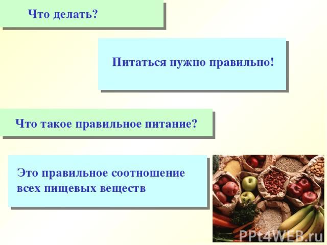 Это правильное соотношение всех пищевых веществ Что делать? Питаться нужно правильно!