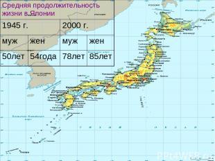 Средняя продолжительность жизни в Японии 1945 г. 2000 г. муж жен муж жен 50лет 5