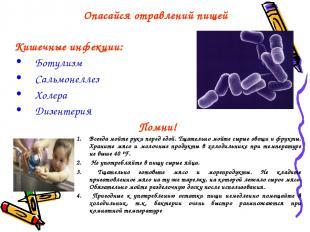 Опасайся отравлений пищей Кишечные инфекции: Ботулизм Сальмонеллез Холера Дизент