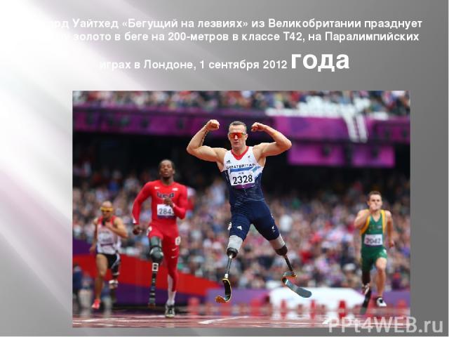Ричард Уайтхед «Бегущий на лезвиях» из Великобритании празднует победу золото в беге на 200-метров в классе T42, на Паралимпийских играх в Лондоне, 1 сентября 2012 года