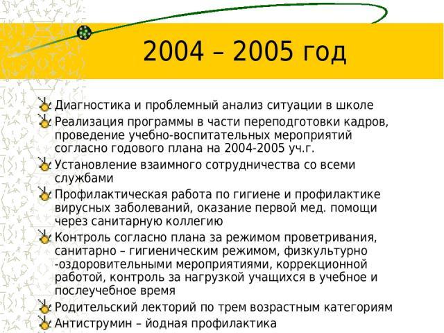 2004 – 2005 год Диагностика и проблемный анализ ситуации в школе Реализация программы в части переподготовки кадров, проведение учебно-воспитательных мероприятий согласно годового плана на 2004-2005 уч.г. Установление взаимного сотрудничества со все…