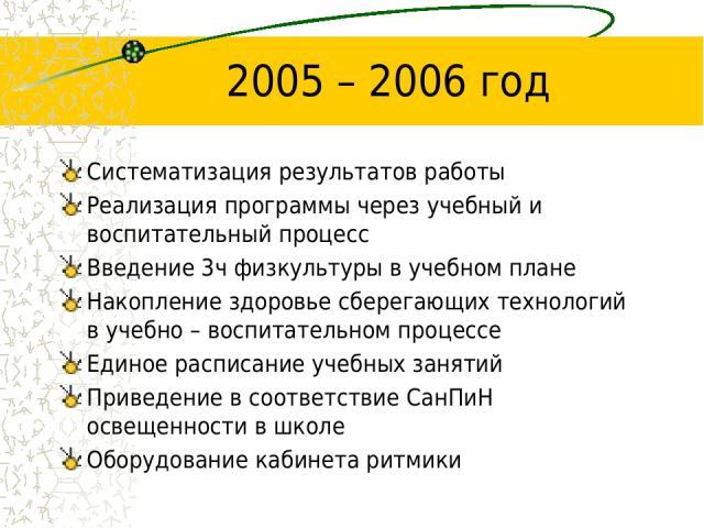 2005 – 2006 год Систематизация результатов работы Реализация программы через учебный и воспитательный процесс Введение 3ч физкультуры в учебном плане Накопление здоровье сберегающих технологий в учебно – воспитательном процессе Единое расписание уче…