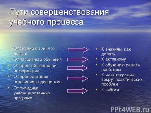 Пути совершенствования учебного процесса От знаний о том, что делать От пассивно