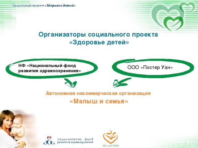 Организаторы социального проекта «Здоровье детей» НФ «Национальный фонд развития здравоохранения» ООО «Постер Уан» Автономная некоммерческая организация «Малыш и семья»