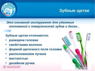 Зубные щетки Это основной инструмент для удаления отложений с поверхностей зубов