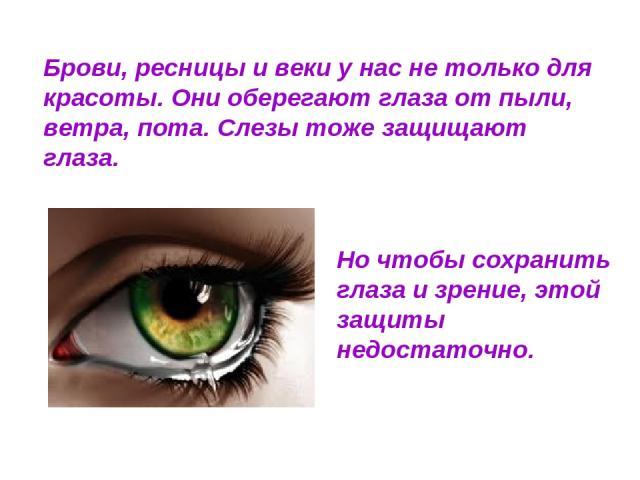 Брови, ресницы и веки у нас не только для красоты. Они оберегают глаза от пыли, ветра, пота. Слезы тоже защищают глаза. Но чтобы сохранить глаза и зрение, этой защиты недостаточно.