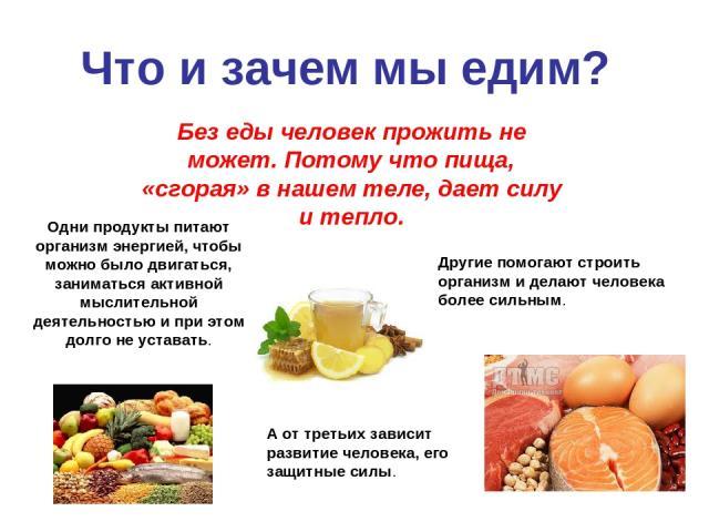 Что и зачем мы едим? Без еды человек прожить не может. Потому что пища, «сгорая» в нашем теле, дает силу и тепло. Одни продукты питают организм энергией, чтобы можно было двигаться, заниматься активной мыслительной деятельностью и при этом долго не …
