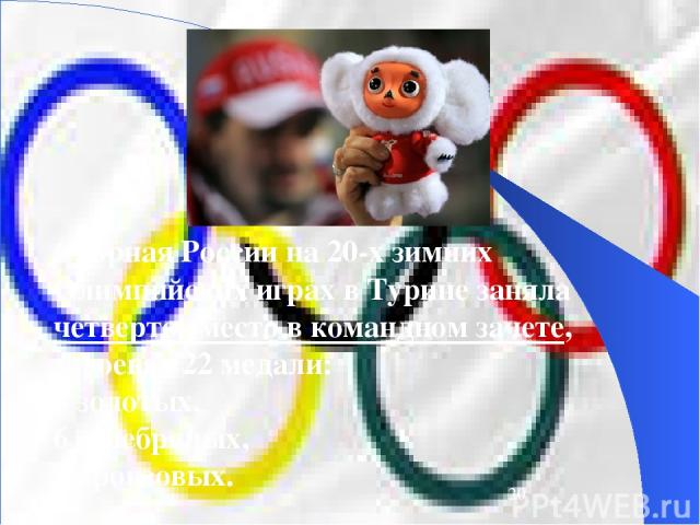 Сборная России на 20-х зимних Олимпийских играх в Турине заняла четвертое место в командном зачете, завоевав 22 медали: 8 золотых, 6 серебряных, 8 бронзовых.