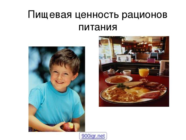 Пищевая ценность рационов питания 900igr.net