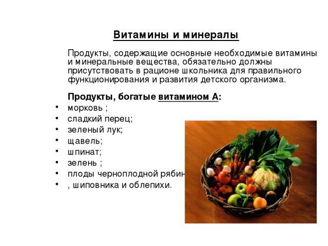 Витамины и минералы Продукты, содержащие основные необходимые витамины и минеральные вещества, обязательно должны присутствовать в рационе школьника для правильного функционирования и развития детского организма. Продукты, богатые витамином А: морко…