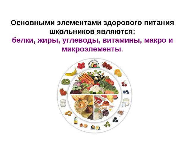 Основными элементами здорового питания школьников являются: белки, жиры, углеводы, витамины, макро и микроэлементы.