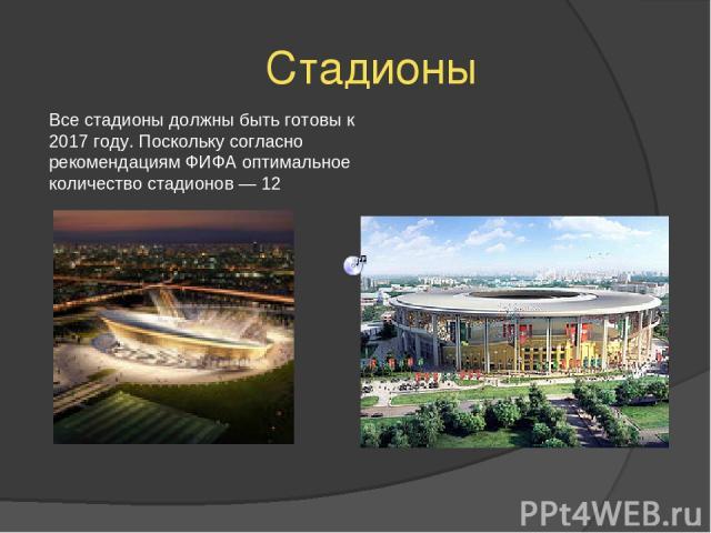 Стадионы Все стадионы должны быть готовы к 2017 году. Поскольку согласно рекомендациям ФИФА оптимальное количество стадионов — 12