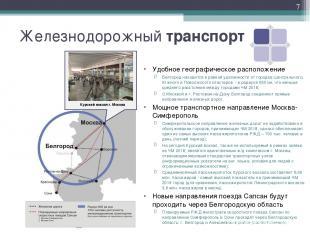 Железнодорожный транспорт Удобное географическое расположение Белгород находится