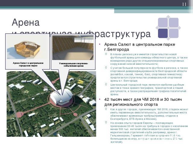 Арена и спортивная инфраструктура Арена Салют в центральном парке г.Белгорода В планах региона уже имеется строительство новой футбольной арены для команды областного центра, а также возведение ряда других специализированных спортивных сооружений ни…