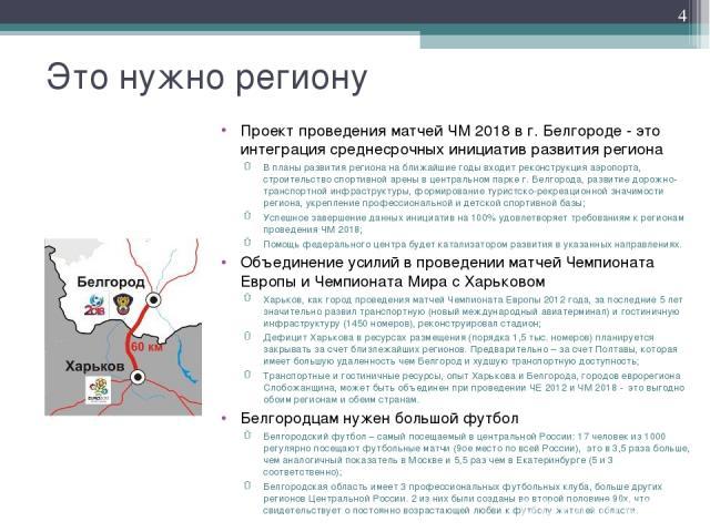 Это нужно региону Проект проведения матчей ЧМ 2018 в г. Белгороде - это интеграция среднесрочных инициатив развития региона В планы развития региона на ближайшие годы входит реконструкция аэропорта, строительство спортивной арены в центральном парке…