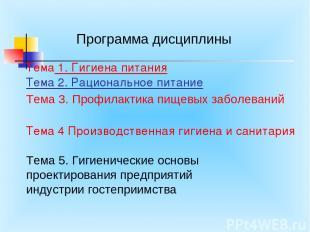 Тема 1. Гигиена питания Тема 2. Рациональное питание Тема 4 Производственная гиг