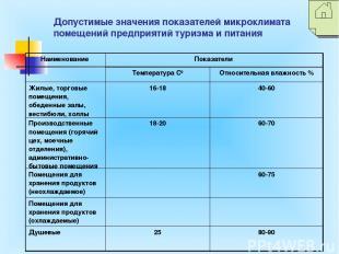 Допустимые значения показателей микроклимата помещений предприятий туризма и пит