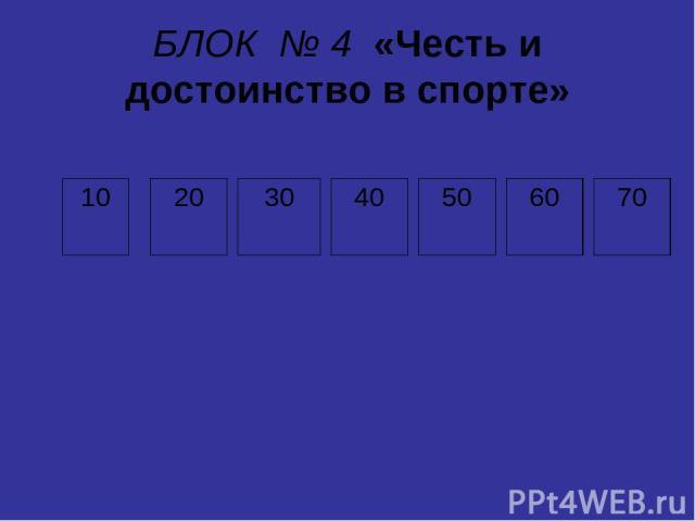 БЛОК № 4 «Честь и достоинство в спорте» 10 20 30 40 50 60 70