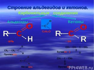 Строение альдегидов и кетонов. Карбонильные соединения Альдегиды Кетоны CnH2nO -