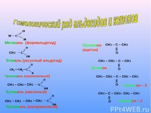 СН3 СН3 – СН2 – СН2 – СН2 СН3 – СН2 – СН2 Метаналь (формальдегид) Этаналь (уксус