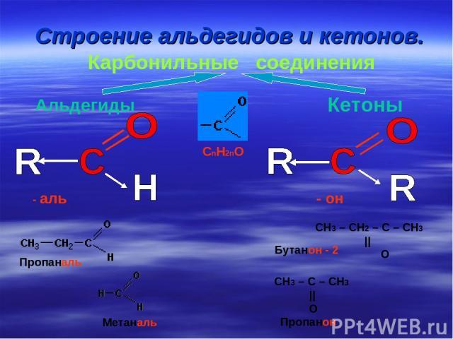 Строение альдегидов и кетонов. Карбонильные соединения Альдегиды Кетоны CnH2nO - аль - он СН3 – СН2 – С – СН3 || O СН3 – С – СН3 || O Пропаналь Метаналь Пропанон Бутанон - 2