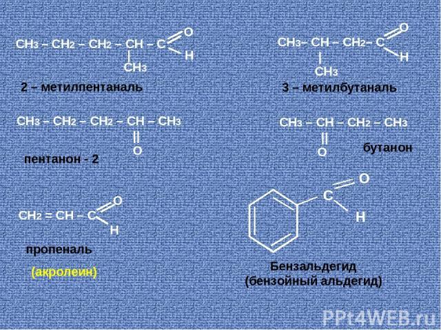 О СН3 – СН2 – СН2 – СН – С | Н CH3 СН3 – СН2 – СН2 – СН – CH3 || O О СН3– СН – СН2– С | Н CH3 О СН2 = СН – С Н СН3 – СН – СН2 – CH3 || O С O H Бензальдегид (бензойный альдегид) пропеналь пентанон - 2 бутанон 2 – метилпентаналь 3 – метилбутаналь (акролеин)
