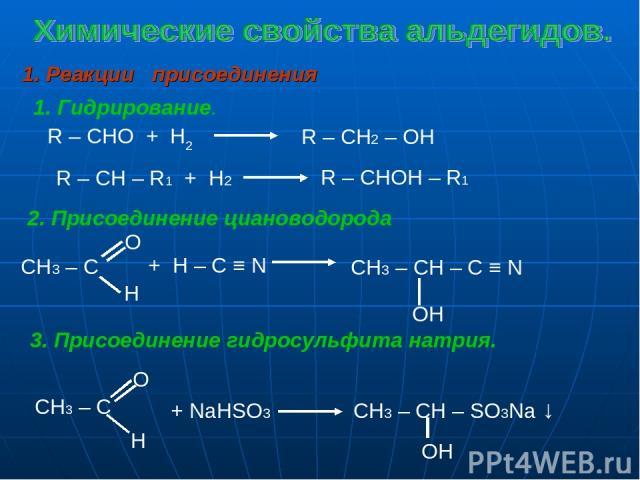 1. Реакции присоединения 1. Гидрирование. R – CHO + H2 R – CH2 – OH R – CH – R1 + H2 R – CHOH – R1 2. Присоединение циановодорода + H – C ≡ N CH3 – CH – C ≡ N ОH 3. Присоединение гидросульфита натрия. + NaHSO3 CH3 – CH – SO3Na ↓ OH CH3 – C O H CH3 – C O H