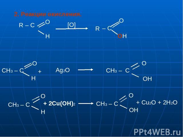 – C OH 2. Реакции окисления. R – C O O H [О] R CH3 – C O H + Ag2O O H CH3 – C O OH CH3 – C CH3 – C + 2Cu(OH)2 O OH + Cu2O + 2H2O
