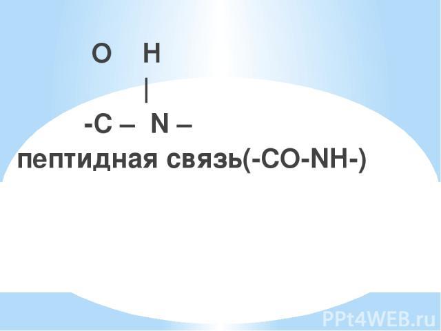 O H ║   -C – N – пептидная связь(-СО-NH-)