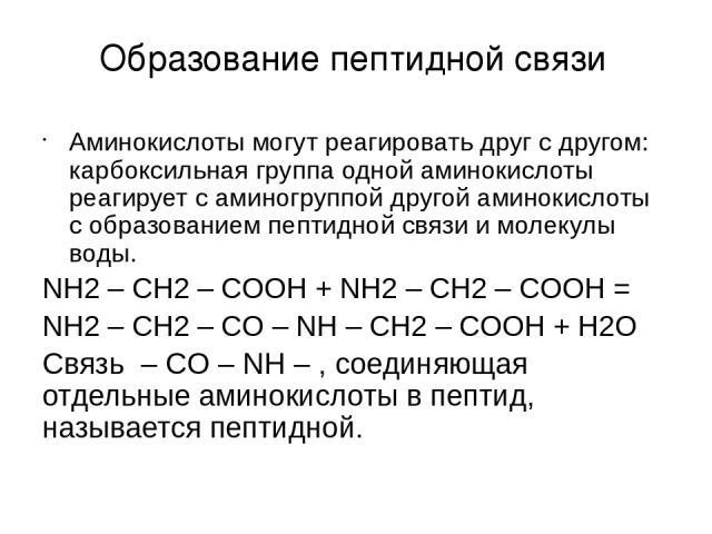 Аминокислоты могут реагировать друг с другом: карбоксильная группа одной аминокислоты реагирует с аминогруппой другой аминокислоты с образованием пептидной связи и молекулы воды. NH2 – CH2 – COOH + NH2 – CH2 – COOH = NH2 – CH2 – CO – NH – CH2 – COOH…