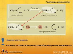 Получение аминокислот Составьте схемы возможных способов получения аминокислот.