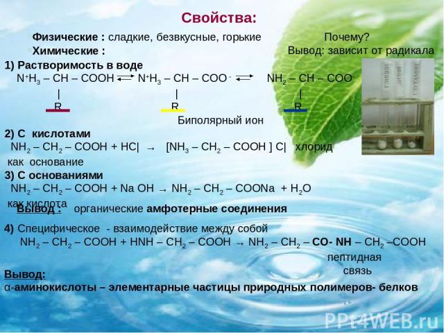 Свойства: 1) Растворимость в воде N+H3 – CH – COOH N+H3 – CH – COO - NH2 – CH – COO- | | | R R R 2) С кислотами NH2 – CH2 – COOH + НС| → [NH3 – CH2 – COOH ] С| хлорид как основание 3) С основаниями NH2 – CH2 – COOH + Na OH → NH2 – CH2 – COONa + H2O …