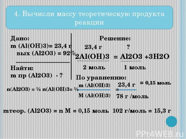 4. Вычисли массу теоретическую продукта реакции Дано: m (Al(OH)3)= 23,4 г ω вых (Al2O3) = 92% Найти: m пр (Al2O3) - ? Решение: 2Al(OH)3 = Al2O3 +3H2O 23,4 г ? 2 моль 1 моль По уравнению: n(Al2O3) = ½ n(Al(OH)3= ½ = m (Al(OH)3) M (Al(OH)3) 23,4 г 78 …