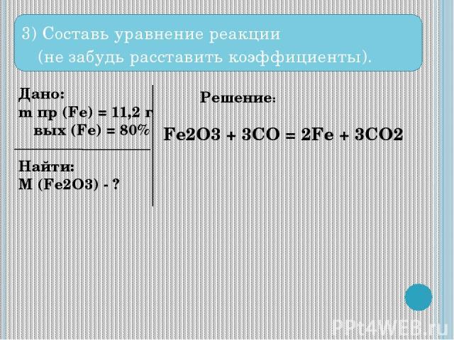 3) Составь уравнение реакции (не забудь расставить коэффициенты). Дано: m пр (Fe) = 11,2 г ω вых (Fe) = 80% Найти: M (Fe2O3) - ? Решение: Fe2O3 + 3CO = 2Fe + 3CO2