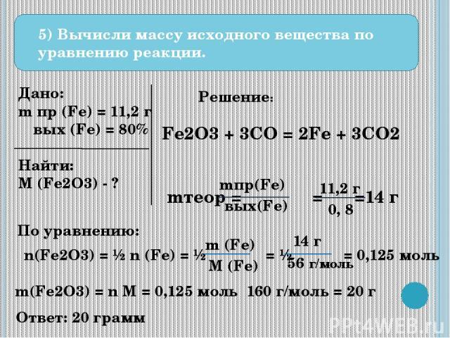 5) Вычисли массу исходного вещества по уравнению реакции. Дано: m пр (Fe) = 11,2 г ω вых (Fe) = 80% Найти: M (Fe2O3) - ? Решение: Fe2O3 + 3CO = 2Fe + 3CO2 mтеор = = =14 г mпр(Fe) ωвых(Fe) 11,2 г 0, 8 По уравнению: n(Fe2O3) = ½ n (Fe) = ½ = ½ = 0,125…
