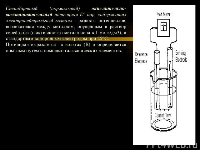 Для определения Е0 составляют следующий гальванический элемент (—) Zn/ZnSO4//H2SO4/(H2) Pt (+) где цинковая пластинка - анод - опущена в раствор ZnSO4, водородный электрод - катод - с помощью электролитического моста контактирует с раствором ZnSO4. …