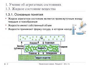 1. Учение об агрегатных состояниях 1.3. Жидкое состояние вещества 1.3.1. Основны
