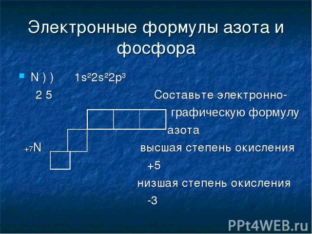 Электронные формулы азота и фосфора N ) ) 1s²2s²2p³ 2 5 Cоставьте электронно- графическую формулу азота +7N высшая степень окисления +5 низшая степень окисления -3