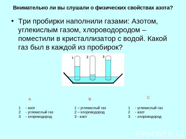 Внимательно ли вы слушали о физических свойствах азота? Три пробирки наполнили газами: Азотом, углекислым газом, хлороводородом – поместили в кристаллизатор с водой. Какой газ был в каждой из пробирок? - азот - углекислый газ - хлороводород 1 – угле…