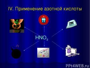 IV. Применение азотной кислоты HNO3