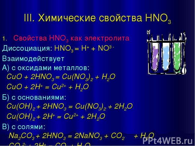 III. Химические свойства HNO3 Свойства HNO3 как электролита Диссоциация: HNO3 = H+ + NO3 - Взаимодействует А) с оксидами металлов: CuO + 2HNO3 = Cu(NO3)2 + H2O CuO + 2H+ = Cu2+ + H2O Б) с основаниями: Cu(OH)2 + 2HNO3 = Cu(NO3)2 + 2H2O Cu(OH)2 + 2H+ …