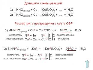 Допишите схемы реакций: Рассмотрите превращения в свете ОВР 1) HNO3(конц.) + Cu