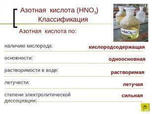 Азотная кислота (HNO3) Классификация наличию кислорода: основности: растворимост
