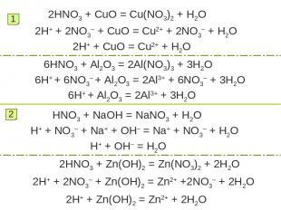 2HNO3 + CuO = Cu(NO3)2 + H2O 1 2H+ + 2NO3– + CuO = Cu2+ + 2NO3– + H2O 2H+ + CuO