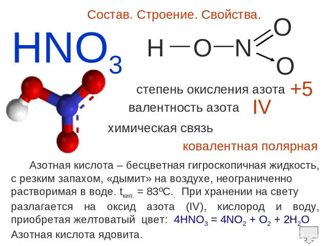 HNO3 Состав. Строение. Свойства. H O N O O — — степень окисления азота валентность азота +5 IV химическая связь ковалентная полярная Азотная кислота – бесцветная гигроскопичная жидкость, c резким запахом, «дымит» на воздухе, неограниченно растворима…