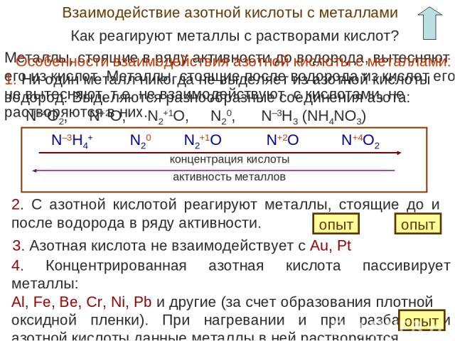 Взаимодействие азотной кислоты с металлами Как реагируют металлы с растворами кислот? Металлы, стоящие в ряду активности до водорода, вытесняют его из кислот. Металлы, стоящие после водорода из кислот его не вытесняют, т.е. не взаимодействуют с кисл…