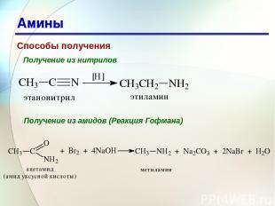 * Амины Способы получения Получение из нитрилов Получение из амидов (Реакция Гоф